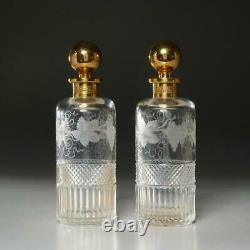 Pair Of (2) Antique Cut Crystal Decanters Gold Plate Stopper/lip, Baccarat