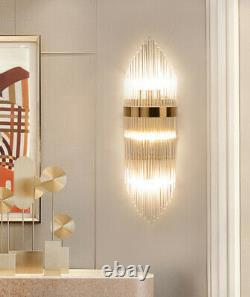 Plating Golden Metal Wall Lamp Luxury Glass Crystal Wall Sconces Light Fixture