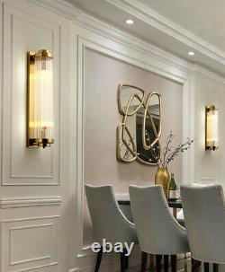 Plating Golden Metal Wall Lamp Luxury Glass Crystal Wall Sconces Light Fixtures