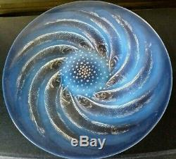 R LALIQUE Clear & Opalescent Glass'Poissons' Coupe Plate/charger stunning