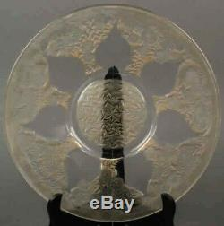 R Lalique Plate Decoration Of 7 Vases Of Flower Clear /sepia Rare Circa 1921