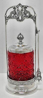 RARE! Atq VICTORIAN Slv Plate PICKLE CASTOR withFORK & LID +CLEAR ETCHED GLASS JAR