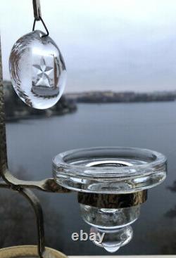 RARE! ERIK HOGLUND KOSTA BODA Sweden Candle Holder Gold Plated, Glass Mediollons