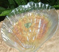 RARE Vintage KAMEI Japan CRAFT Carnival Glass Large SHELL Dish Collectabe In Aus