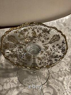 REDUCED Cambridge Rose Point Crystal RARE Etched 24KT Gold