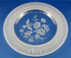 RETRO Avon FRENCH CRYSTAL (2Pc) HUMMINGBIRD Dessert Plates BOXED Collectable Au