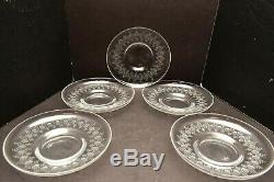 ROSENTHAL CRYSTAL Dessert plates bowl GLASS SET 5 MOTIF ROMANCE ETCHED SIGNED 7