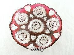 Rare Antique BACCARAT Flawless Crystal Cranberry Cu-to-Clear Large Cake Plate
