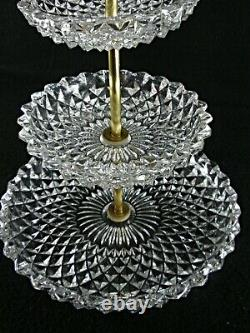 Rare Antique BACCARAT Flawless Crystal Tiered Praline Serving Plate with Gilding