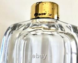 Rare Baccarat Crystal Asprey Gold Plated Sterling Silver Collar Decanter Bottle