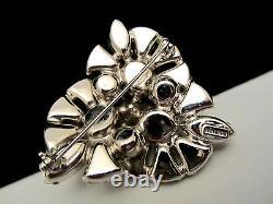 Rare Vintage 2 Signed Eisenberg Rhodium Plated Clear Rhinestone Brooch A43