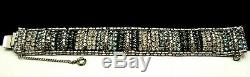 Rare Vintage 7x1 Signed Hobe' Rhodium Plate Clear Blue Rhinestone Bracelet M7