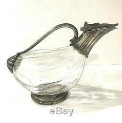 Rare Vintage Design Duck Goose Glass & Silver Plated Trimmed Decanter Pitcher