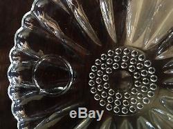 Rare Vintage Hazel Atlas clear Glass Daisy Luncheon Set (10 plates, 12 cups)
