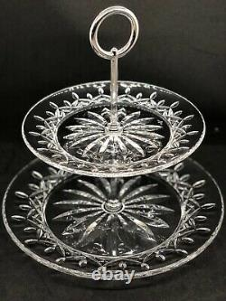 Retired Rare Waterford Crystal Lismore 2-tier Server Platter Cake Tray Free Ship