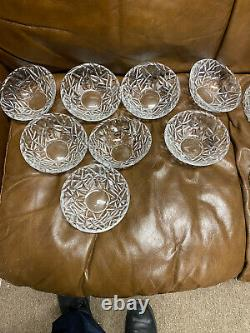 Rock cut Crystal Bowl and Plate Set Lot Tiffany & Co. Bargain Priced Rare