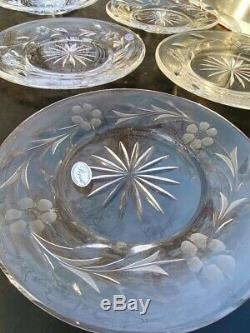 Rogaska Full Lead Crystal Plates Set of 6 Dishes Luncheon Plate Country Garden 8