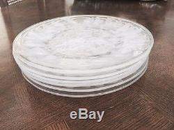 SALE Lalique Crystal Plates Mistletoe Vintage 8 3/4 Set Of FOUR Beautiful