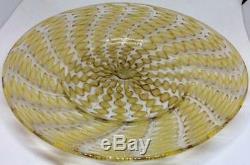 SALVIATI Latticino bowl & Plate Murano Venetian Yellow Gold Aventurine Zanfirico