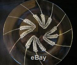 SIX LALIQUE etched glass plates in wheatgrass pattern signed Lalique France