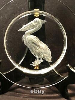 STEUBEN, Audubon 10 dinner plate 1940's Canadian Goose & Pelican