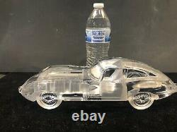 Scarce Daum Crystal Large 12.5 Jaguar Type E MINT Condition withName Plate