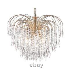 Searchlight 5 Lights Waterfall Gold Plate Ceiling Fitting Pendant Chandelier New
