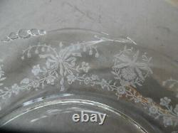 Set 2 Heisey Elegant Glass Crystal Clear Orchid Etch Waverly Dinner Plates 10.5