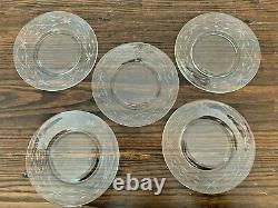 Set/5 Etched Star Flower Clear Depression Glass Salad/Desert Plates 8