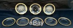 Set 8 Tiffin Rambler Rose Luncheon Plates, Clear Optic Gold Encrusted