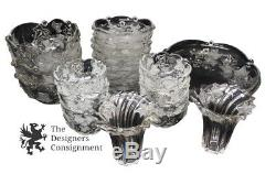 Set Of 25 Clear Frosted Leaf Glass Design Serving Platters Plates Bowls Set