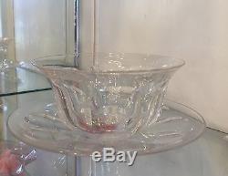Set Of 4 Antique Hawkes Crystal Finger Bowls & Under-plates