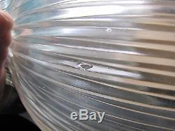 Set Of 4 Industrial Signed 6585 Holophane Shades With Brass Plated Ring 6585
