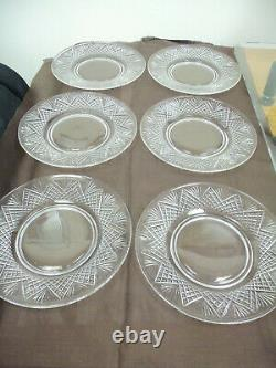 Set Of 6 Vintage Hawkes Strawberry Diamond & Fan Pattern Luncheon Plates