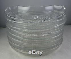 Set Of 8 Val St. Lambert State Plain Crescent Salad Plates Clear Glass Signed