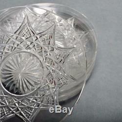 Set Of Eight (8) Baccarat Colbert Clear Cut Crystal Dessert Plates, 6
