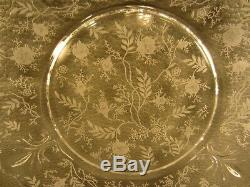 Set of 12 Fostoria Chintz Crystal Etched Baroque Dinner Plates 9 1/2
