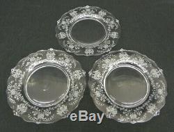 Set of 14 Mid-Century HEISEY Orchid Elegant Glass 8 1/4 Salad Plates Near-MINT