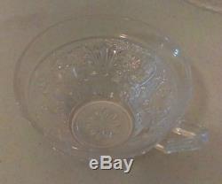 Set of 38 pcs Vintage Antique Clear Glass ETCHED CUT Plates & Tea Cups