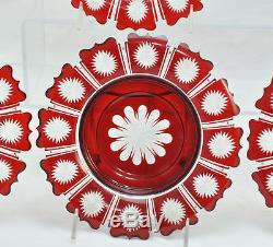 Set of 4 Fine Antique Bohemian Red Cut to Clear Cased Glass Plates