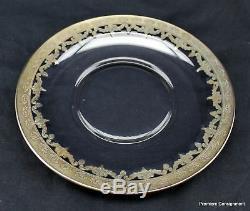 Set of 4 Vintage Arte Italica Vetro Silver Salad/Bread Plates 8.25