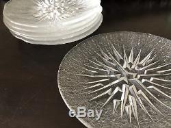 Set of 6 rare IITTALA Finland Lunaria Tapio Wirkkala Glass Salad Plates 8