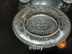 Set of 8 Antique Pressed Glass Tea And Biscuit Plates and Cups