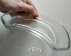 Set of 8 Val St Lambert 60s Clear Crystal glass Side Salad Dish Crescent-shaped
