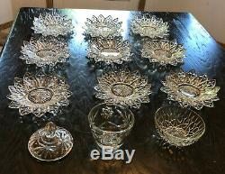 Set of 9 1950s Vintage Federal Glass Petal Plates & Bowls, Sugar Bowl & Bowl