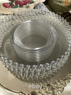 Set of Antique Imperial Candlewick Clear Crystal Plates with Beaded Border