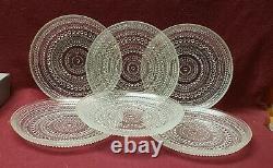 Set of Six (6) IITTALA Crystal Finland KASTEHELMI Pattern 7 DESSERT PLATES