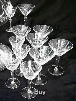 Signed HAWKES Elegant Cut Crystal 22 matching pieces water wine sherbet plates