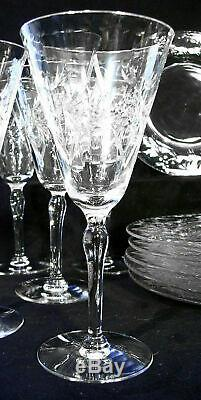 Signed HAWKES Elegant Cut Crystal water wine sherbet plates 22 matching pieces