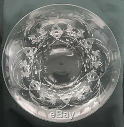Signed Libbey Rock Cut Crystal 6 Finger Bowls 6 Under Plates